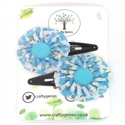 Baby Blue Floral Hair Clips