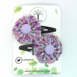 Ditzy Purple Floral Hair Clips