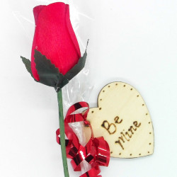 "Wooden Rose - Red - ""Be Mine"""