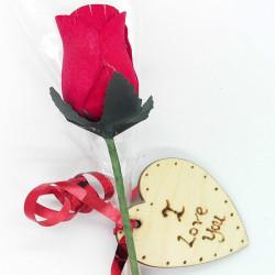 "Wooden Rose - Red - ""I Love..."