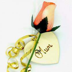 """Wooden Rose - Orange - """"Mum"""""""