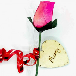 "Wooden Rose - Pink - ""Mummy"""