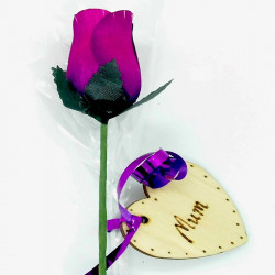 "Wooden Rose - Purple - ""Mum"""