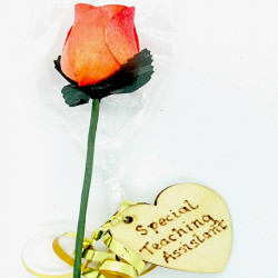 "Wooden Rose - Orange ""Thank..."