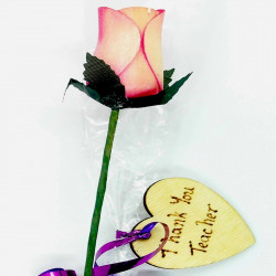"Wooden Rose - Pink ""Thank..."