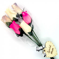 Wooden Rose Bouquet - Pink...