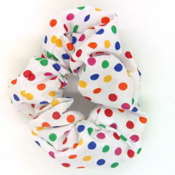 Dark Rainbow Dot Scrunchie