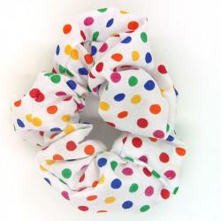 Dark Rainbow Dot Scrunchie