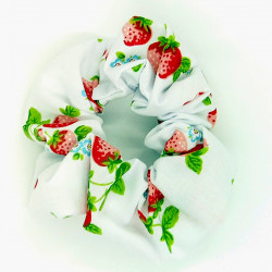 White Strawberry Scrunchie