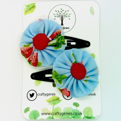 Blue Strawberry Hair Clips