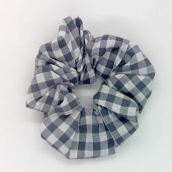Grey Gingham - Hair Scrunchie