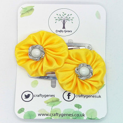 Yellow Satin Hair Clips