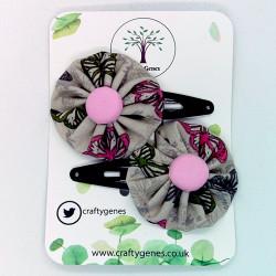 Beige Butterfly Hair Clips