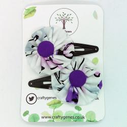 White & Purple Hair Clips