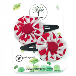White & Red Heart Hair Clips