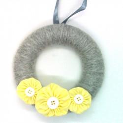 12cm Wool Wreath - Grey &...