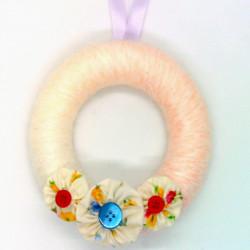 12cm Wool Wreath - Peach...