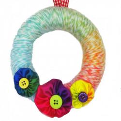 12cm Wool Wreath - Rainbow