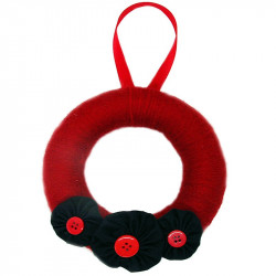 12cm Wool Wreath - Red