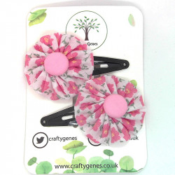 Baby Pink Floral Hair Clips