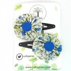White & Blue Floral Hair Clips