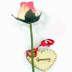 Wooden Rose - White & Red...