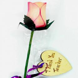 "Wooden Rose - Pink ""Thank..."