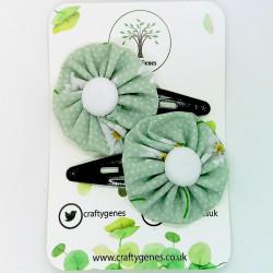 Mint Daisy Hair Clips