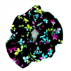 Black Floral Hair Scrunchie