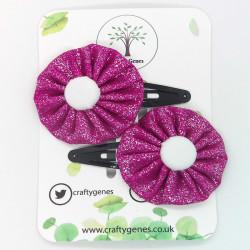 Pink Glitter Hair Clips