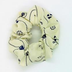 Cream Nautical Hair Scrunchie