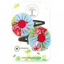 Blue & Red Floral Hair Clips