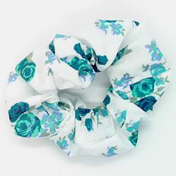 White & Teal Floral - Hair...
