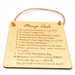 Marriage Rules Plaque