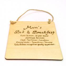 Mums Bed & Breakfast Plaque
