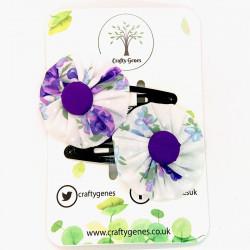 Purple Floral Hair Clips