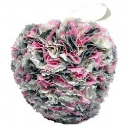 Fabric Heart - Pink, Cream,...