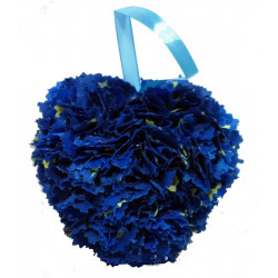 Fabric Heart - Blue and Yellow
