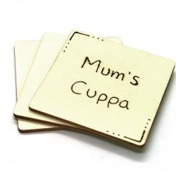 Wooden Coaster - Mum's Cuppa