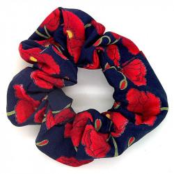 Navy Poppy Scrunchie