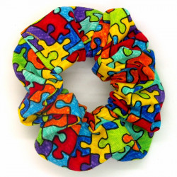 Rainbow Jigsaw Scrunchie