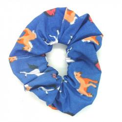 Blue Horse Scrunchie