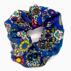 Blue Day of the Dead Scrunchie