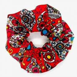 Red Day of the Dead Scrunchie