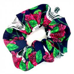 Navy Pink Rose Skull Scrunchie