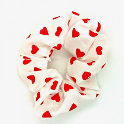 White And Red Heart Scrunchie
