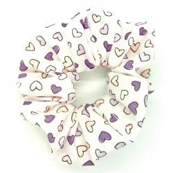 Purple Mini Hearts Scrunchie