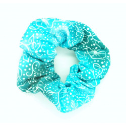 Teal Ombre Floral Scrunchie