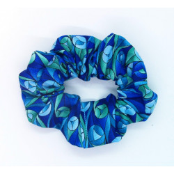 Blue and Green Tulip Scrunchie