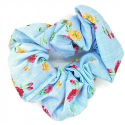 Blue Floral Scrunchie